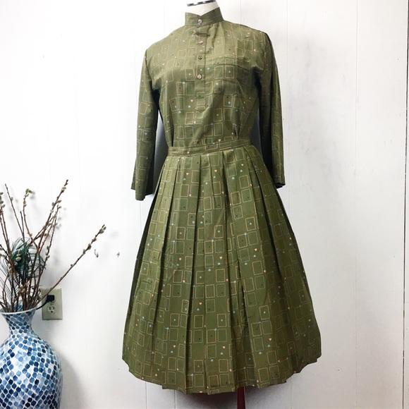 Vintage Dresses & Skirts - Vintage Handmade Deck of Cards Two Piece Skirt Set